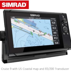 Simrad Cruise 9 Fish Finder Chart Plotter with Skimmer Transducer