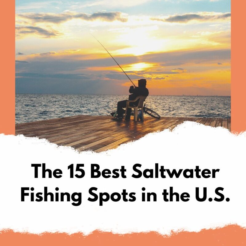 """A picture of a man fishing off of a pier on the ocean. The text reads """"The 15 Best Saltwater Fishing Spots in the U.S."""""""