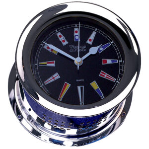 Chrome Plated Atlantis Quartz Clock, Black Dial w/ Color Flags