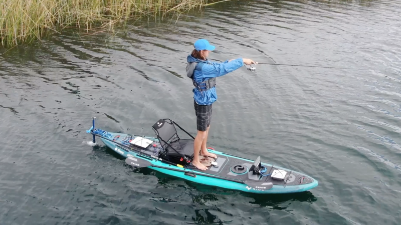 Pre-Order J-2 Outboard Kit turn on and in fishiing action with kayak